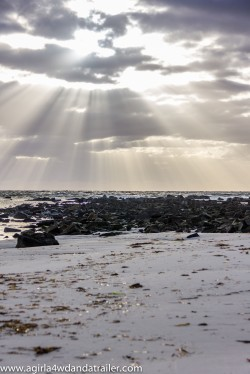 Sunrise of Policemans Point. Stunning rays of sunlight filtering through the clouds